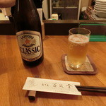 おでんの冨茂登 - 瓶ビール(サッポロクラシック)630円