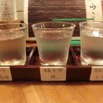 おでんの冨茂登 - 純米酒三種飲み比べ950円