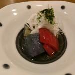 鮨 春松 - 揚げ茄子煮浸し、赤ピーマン、長芋千切り