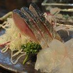 あさひ町スタンド - 関鯖の酢じめ・ 佐島のひらめの2点盛