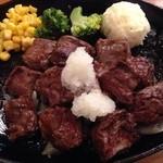 みさき食堂 - サイコロステーキのアップ