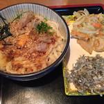 ほうばい - 宗田節かま玉うどん、野菜のかき揚げ、ふのり天
