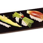 すしざんまい - 夏野菜三貫セット 298円(税別)