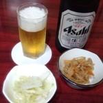 帆里 - 中瓶ビール+定食の小鉢と漬物