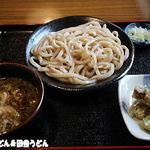 アサイチ - 肉汁うどん+ちくわ天