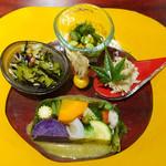 39719309 - 野菜のテリーヌ、セロリとひじきの和え物、春野菜の和え物、卯の花