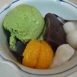 みはし 上野本店 - 白玉あんみつ抹茶アイス乗せ