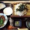 Mugitoroumimonogatari - 料理写真:更科そばとmini牛タン丼
