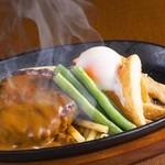 松本ゴールデンバーグ - 料理写真:定番人気!デミ玉ハンバーグ