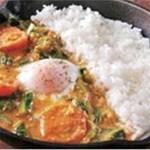 野菜を食べるカレーcamp - 小松菜と半熟玉子の南インド風カレー