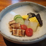 志蕎庵 江月 - 焼きアナゴと夏野菜の炊き合わせ