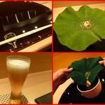 先ずは生ビール、山芋素麺、蓮の葉にじゅんさいと由良の雲丹を乗せてありそれを器に入れて一緒に頂く!凄いアイデアです!