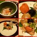 本日の八寸(茄子の煮びたし、丹波黒豆のゼリー寄せ、蛙冬瓜目は有馬山椒梶の葉かけ、沢蟹の素上げ、枝豆とすり身の天ぷら