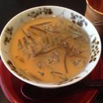 とよなか桜会 -  ⚫️冷製茶碗蒸し 蓴菜とあんが上にあります。 中に梅干しが丸ごと一粒入ってます。 感動です。・°°・(>_<)・°°・。