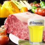 Dining kaze 池袋の風 - 特撰黒毛和牛サーロインステーキにヒューガルデンホワイト樽生、美味い!