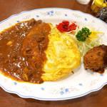 キクヤレストラン - オムカレーコロ(¥1000)。オムカレーとクリームコロッケのセット