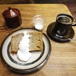 ヒキダシ - カフェオレシフォン 生クリーム添え、コーヒー