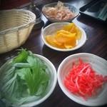 Hanakina - ふーちばー、紅生姜、鰹節、沢庵、呼鈴