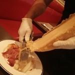 BISTRO L'Assiette - ラクレットチーズのオーブン焼き 1,400円 ホワイトアスパラ付き +500円、生ハム付き +500円