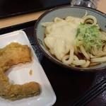 四代目横井製麺所 - とろろぶっかけ 温・並 400円 + かぼちゃ天 100円 (トッピング:ネギ)