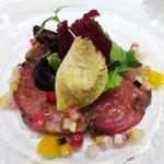 Ostu - 軽く燻製をかけた天然ブリのサラダ仕立て