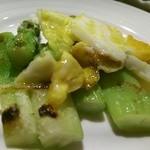 カフェCouCou - グリーンアスパラのステーキ 半熟卵のせ【解体後】