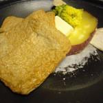 魚菜家 旬蔵 - 旬の陶板焼(宇和島のジャコ天、薩摩芋、きのこ)