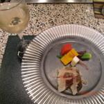 39833008 - 酢漬けのすずきの刺身、にんじん、山芋、カボチャなどの野菜