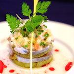 レストラン フィーネ - シマアジと水なすのミルフィーユ仕立て