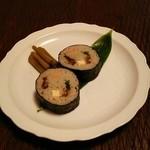 蕎麦処 多賀 - 蕎麦寿司500円。
