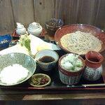 勇吉 - 2015/6 『つけ天丼セット』、冷たいお蕎麦で