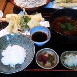 勇吉 - 2013年 初訪問時の『つけ天丼セット』、温かいお蕎麦で