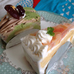Ryo - 抹茶と栗のケーキ & 桃のショートケーキ♪( ´▽`)