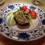 39861981 - ★7 鰯と茄子のテリーヌ、バジリコ風味ニンニククリーム トマトサラダ添え