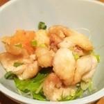 ふく鶴 - お通し(鶏皮ポン酢)