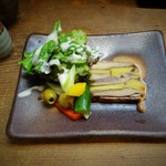 izakaya 新道亭 - 燻製した鯖とインカの目覚めのテリーヌ