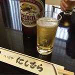 八ツ目や にしむら - ラガー(大瓶)600円。強いキレが鰻重にベストマッチ!