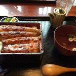 うなぎの緒里 - 2015年7月中旬 特うな重定食全景  特うな重に肝吸いがついて ¥2,400