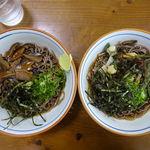Izurashuuzenjisobadokoro - 冷し椎茸そば 470円             冷し山菜そば 470円