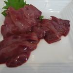 おか田 - 地鶏刺身(白レバ)