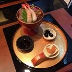 39885940 - 前菜(甘海老豆腐・黒大豆煮)、お造り(甘海老)