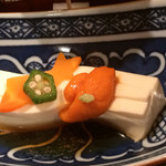 39886707 - [夕飯:天正]前菜  天の川豆腐 雲丹、オクラ、美味出し