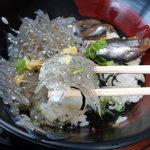 田子の浦港 漁協食堂 - しらすの親子丼850円 (生しらす・イワシ醤油漬け)