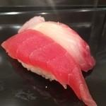 Sushi Bar にぎりて - 赤身・こしょう鯛(各100円)