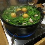 39920935 - 鳥みそ鍋(もも肉、レバー、キンカン、九条葱、長葱、玉葱、ニラ、豆腐、蒟蒻)4
