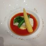 39922379 - 鱸のヴァポーレ 旬の野菜フリット サルサ・ポモドーロ
