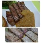 ステーキハウス 蜂 - このお値段で頂くステーキとしてはお肉も柔らかく普通に美味しいですよ。 ジャポネソースもいいお味です。