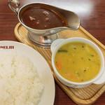 新川デリー - ツインカレー カシミール ダールスープ