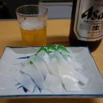 能登屋 - 2015.07 ビール大瓶(450円)とイカ刺し(350円)パックから出したまんまって感じですが:笑