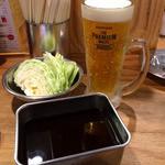 串カツ田中 綱島店 - やっぱりビールで乾杯♪(〃゜▽゜)ノ□☆□ヽ(゜▽゜*)♪